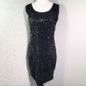 Suzy Shier black all over sequins cocktail dress.